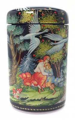 85 mm The Magic Swan Geese tall hand painted lacquered box from Palekh (by Pavel Studio)