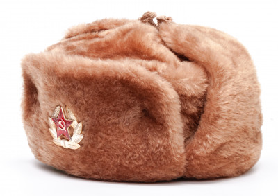 USSR Red Army Fur Ushanka Winter Hat (red, any size)