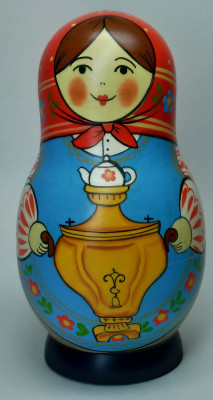 125 mm Mistress with Samovar hand painted Traditional Russian Wooden Matryoshka doll 5 pcs (by Igor Malyutin)