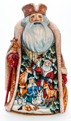 300 mm Santa Claus with a Magic Staff with handpainted Santa Claus and Snowmaiden Princess Wooden Carved Statue (by Sergey  Christmas Workshop)
