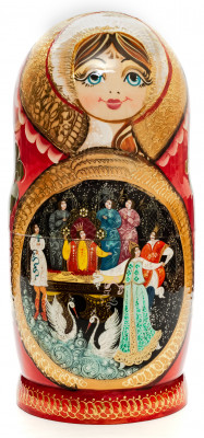 260 mm The Swan Princess handpainted Wooden Matryoshka Doll 10 pcs (by Valery Crafts)