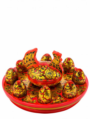 Chicken with 7 Eggs hand painted wooden Butter Bowl Set (by Golden Khokhloma)