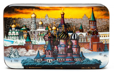 130x80mm Saint Basil Cathedral hand painted on pearl shell lacquered box from Fedoscino (by Mihail Studio)