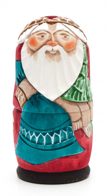 110 mm Santa Claus Hand Carved and Painted Matryoshka shape 3 pcs inside (by Sergey Carved Wooden Dolls Studio)