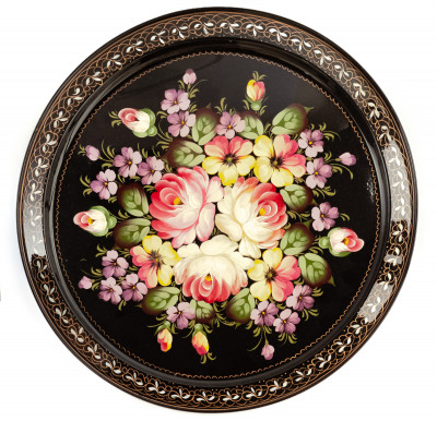 d 385 mm Zhostovo Patterns hand painted and lacquered Metal Forged Tray (by Lada Crafts)