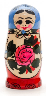 95 mm Blue Head Semenovskaya Hand Painted Wooden Matryoshka Nesting Doll 4 pcs inside  (by Ivan Studio)