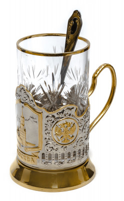 Spasskaya Tower of Kremlin Gold Plated Brass Tea Glass Holder with Crystal Glass and Gold Plated Tea Spoon (by Kolchugino)