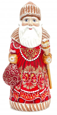 195 mm Santa Claus With a Staff And a Bag of Gifts (by Igor Carved Wooden Figures Studio)