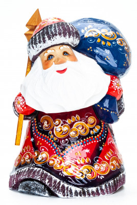 160 mm Santa with a Magic Staff and a Bag Carved Wood Hand Painted Collectible Figurine (by Igor Carved Wooden Figures Studio)