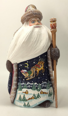 16cm Santa Claus Hand Carved Wooden Statue with painted picture Santa Claus flying over the Russian Village