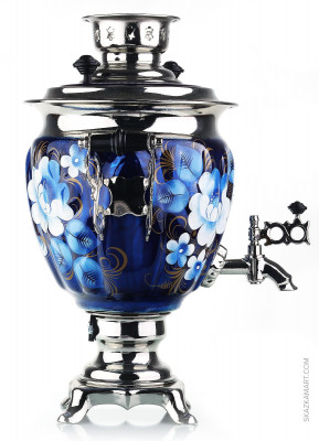 Blue Flowers Hand Painted Electric Samovar Kettle