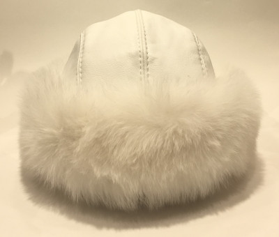 White Polar Fox Fur Round Hat with Leather Top