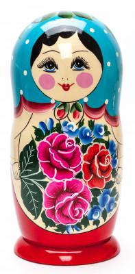 Blue Scarf Russian Hand Painted Wooden Matryoshka with 10 dolls inside