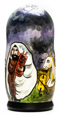 180mm Homeland by Chagall hand painted on wooden Matryoshka doll 5 pcs (by Alexander Famous Paintings Studio)