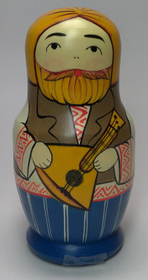 110 mm Man with Balalayka hand painted Traditional Russian Wooden Matryoshka doll 5 pcs (by Igor Malyutin)
