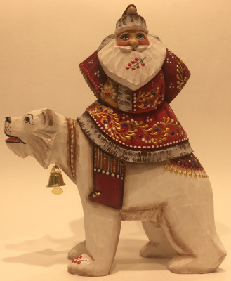 190 mm Santa Claus rides Polar Bear hand carved and painted wooden figure with a Green Tree and Bag of Gifts (by Natalia Workshop)
