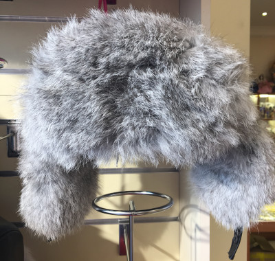 Grey Rabbit Hair Hat with Ear flaps and Leather top (by Boris Furs)