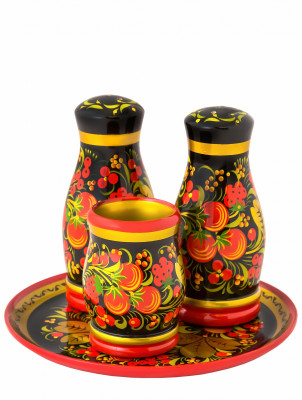 Salt and Pepper hand painted wooden Set with Tray and Glass (by Golden Khokhloma)