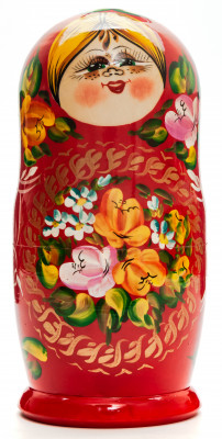 190 mm Smiling Gilrs hand painted wooden Matryoshka doll 5 pcs (by Freckles Studio)