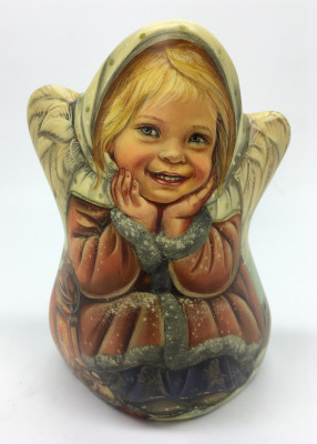 125 mm Angel sitting near Christmas Tree hand carved and painted wooden Statue (by Nadezhdin Studio)