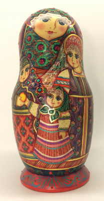 7 pcs Russian Family Matryoshka Dolls painted by M Bogachev