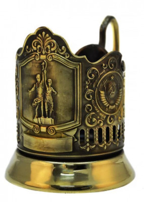 Worker and Kolkhoz Woman Pure Brass Tea Glass Holder with Faceted Glass (by Kolchugino)