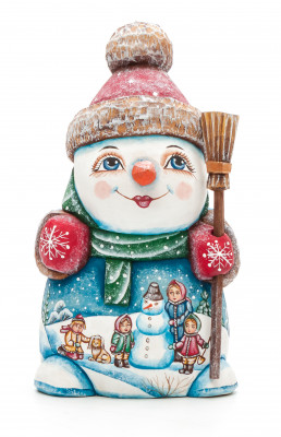 160 mm Snowman with a Broom and a Green Christmas Tree on wooden Figurine with hand painted Kinds playing in the Street (by Natalia Nikitina Workshop)