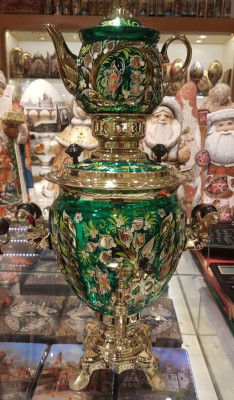 Green Ornaments Hand Painted Electric Samovar Kettlewith Teapot and Tray