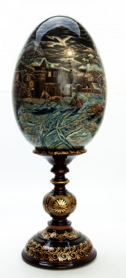 580 mm Night before Christmas in Russian Village hand painted Wooden Egg with Standby