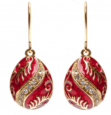 15x35 mm Red Twisted Rhombus Egg Shaped Earrings