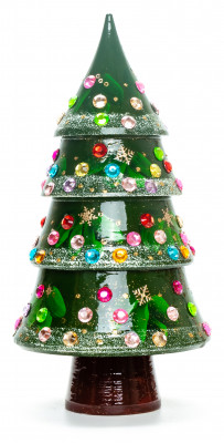 220 mm Christmas Wooden Green Tree with Hand Painted Garlands and Decorations