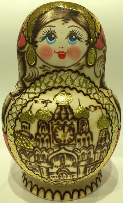 180 mm Moscow Cathedrals hand burnt and painted Wooden Matryoshka doll 10 pcs (by Julia Studio)