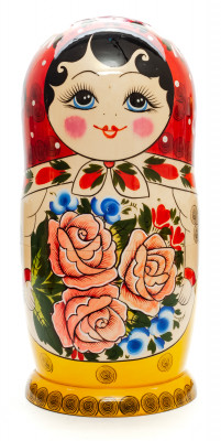 320 mm Red Head Semenovskaya handpainted wooden Matryoshka Doll 15 pcs (by Ivan Studio)