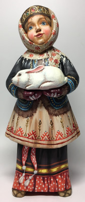 220 mm Russian Girl in a Winter Dress with a White Rabbit hand painted Wooden Statue (by Karpova Nadezda)