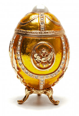 80 mm Golden Easter Egg with an Eagle and a Peal
