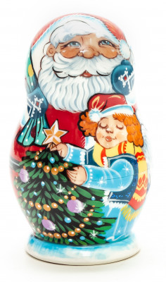 85 mm Santa Claus and Green Tree Hand Painted Matryoshka Doll 5 pcs (by Vasily Crafts)
