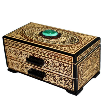 160x80 mm Siberian Patterns hand made Birchbark Jewelry Box with Malachite stone (by Birch Gifts)
