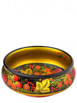 80x200 Khokhloma handpainted Open Small Vegetable Bowl wooden