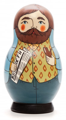 125 mm Man with a Newspaper hand painted Traditional Russian Wooden Matryoshka doll 5 pcs (by Igor Malyutin)
