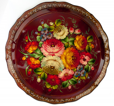 d 420 mm Zhostovo Patterns hand painted and lacquered by Gogina Metal Forged Tray (by Lada Crafts)