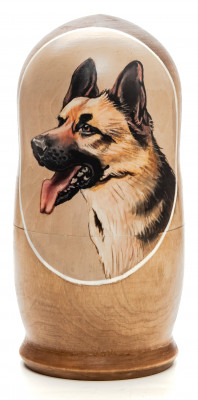 160mm Dog hand painted Matryoshka 5pcs (by Alexander Famous Paintings)