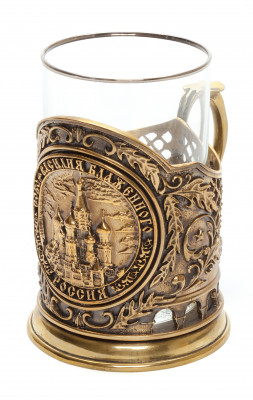 Snt Basil Cathedral Cast Brass Tea Glass Holder with Faceted Glass (by Kolchugino)