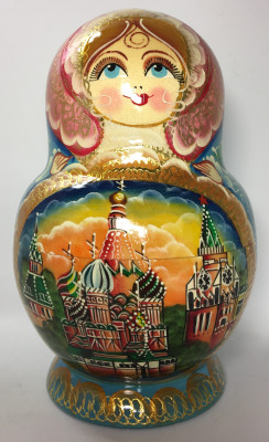 220 mm Moscow Cathedrals Hand painted Matryoshka doll 15 pcs inside round shape (by Valery Studio)