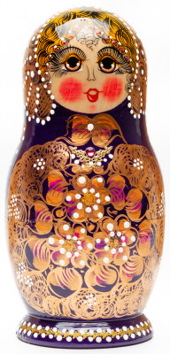 180 mm Russian North Pattern hand painted Wooden Matryoshka Doll 5 inside (by Snezana Studio)