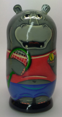 120mm Hippo Tennis Player hand painted Matryoshka 3pcs (by Gift Shop)