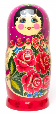 Violette Scarf hand painted Wooden Russian Matryoshka with 30 dolls inside