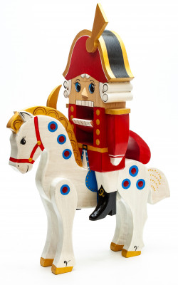300 mm The Nutcraker Riding a Horse hand carved and painted wooden Figurine (by Andrey Crafts)