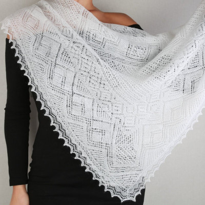 110x110 cm White Goat Down Hand Knitted Russian Orenburg Shawl (by Orenburg Factory)
