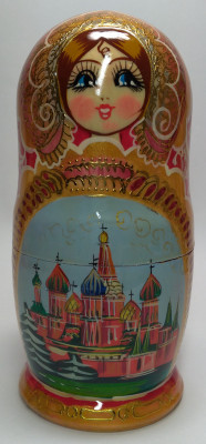 180 mm Saint Basil Cathedral handpainted Wooden Matryoshka Doll 5 pcs (by Valery Crafts)