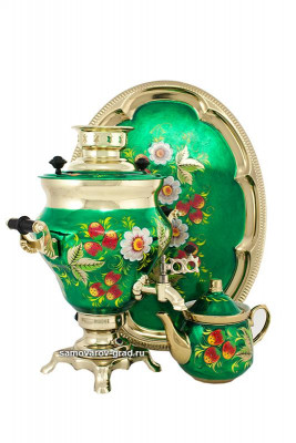 Berries Hand Painted Electric Samovar Kettle with Teapot and Tray